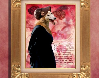 Greyhound Art Print 11 x 14 inch original illustration artwork giclee archival premium poster print By Nobility Dogs