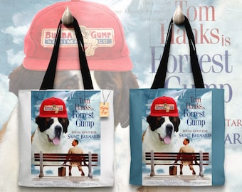Saint Bernard Art Tote Bag - Forrest Gump Movie Poster   Perfect DOG LOVER Gift for Her Gift for Him