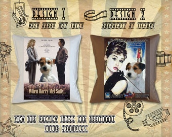 Parson Russell Terrier Pillow Movie Poster Breakfast at Tiffany When Harry Met Sally by Nobility Dogs