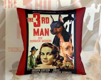 Miniature Pinscher Art Pillow The Third Man Movie Poster   by Nobility Dogs