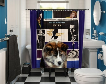 Akita Inu Art Shower Curtain, Dog Shower Curtains, Bathroom Decor - The Man with the Golden Arm Movie Poster