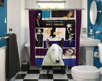 Bull Terrier Art Shower Curtain, Dog Shower Curtains, Bathroom Decor - The Man with the Golden Arm Movie Poster