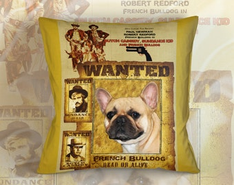 French Bulldog Art Pillow    Butch Cassidy and the Sundance Kid Movie Poster  by Nobility Dogs
