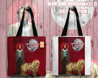 Bergamasco Art Tote Bag   Man on the Moon Movie Poster by Nobility Dogs