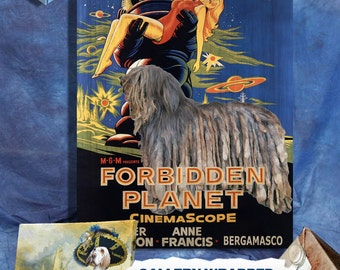 Bergamasco Dog Art FORBIDDEN PLANET Movie Poster Canvas Print Dog Lover Christmas Gift by Nobility Dogs