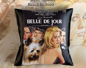 Silky Terrier Art Pillow Case   Belle De Jour Movie Poster   by Nobility Dogs