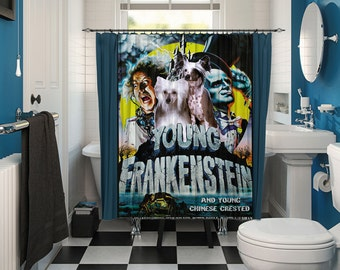 Chinese Crested Dog Art Shower Curtain, Dog Shower Curtains, Bathroom Decor   Young Frankenstein Movie Poster