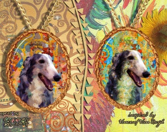 Borzoi Jewelry Pendant - Brooch Handcrafted Porcelain by Nobility Dogs - Gustav Klimt and Van Gogh