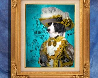 Border Collie Art Print 11 x 14 inch original illustration artwork giclee archival premium poster print By Nobility Dogs