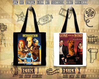 Irish Terrier Dog Art Tote Bag Gifts inspired by Movie Poster The Fifth Element and Gone With the Wind by Nobility Dogs