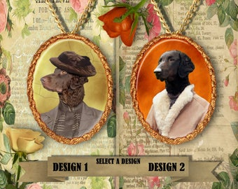 Curly Coated Retriever Jewelry Pendant Handmade Gifts by Nobility Dogs