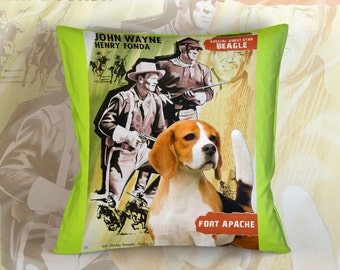Beagle Art Pillow    Fort Apache Movie Poster   by Nobility Dogs