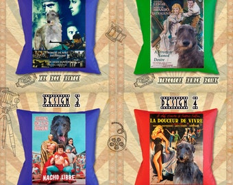 Scottish Deerhound Art Pillow Deerhound Dog Gifts inspired by Movie Poster  by Nobility Dogs