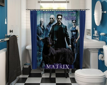 Flat Coated Retriever Art Shower Curtain, Dog Shower Curtains, Bathroom Decor  Matrix Movie Poster