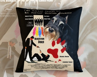 Miniature Schnauzer Art Pillow Reservoir Dogs Movie Poster   by Nobility Dogs