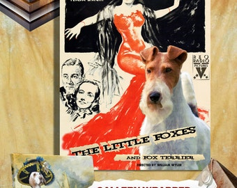 Fox Terrier Wire Vintage Canvas Print - The Little Foxes Movie Poster Perfect DOG LOVER GIFT Gift for Her Gift for Him Home Decor