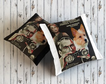 Portuguese Podengo Art Pillow    Rear Window Movie Poster   by Nobility Dogs