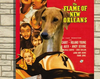 Azawakh Dog Poster The Flame of New Orleans Movie Print Dog Portrait from Photo best selling Home Wall Art Decor Gift for Her Gift for Him