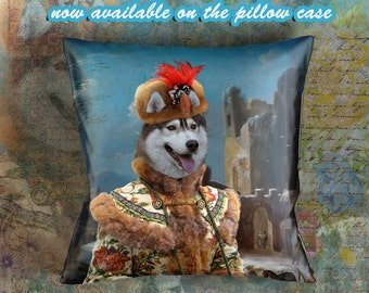 Christmas Gifts Siberian Husky Pillow Portrait Dog Lover  by Nobility Dogs Arts