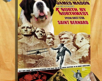 North By Northwest Saint Bernard Dog Movie Art 1950s Movie Poster Dog Painting Alfred Hitchcock Poster Custom Dog Portrait from Photo