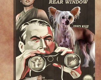 Chinese Crested Dog Art  REAR WINDOW  Movie Poster