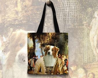 Australian Shepherd Pillow or Tote Bag/Aussie Portrait/Dog Tote Bag/Dog Pillow/Personalized Aussie /Custom Dog Portrait/Movie Poster