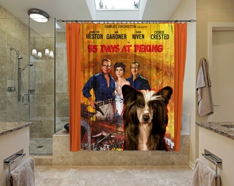 Chinese Crested Dog Art Shower Curtain, Dog Shower Curtains, Bathroom Decor   55 Days at Peking Movie Poster