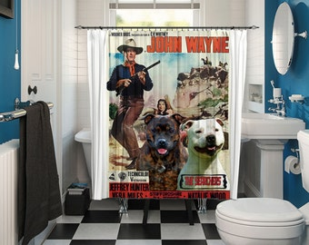 Staffordshire Bull Terrier Art Shower Curtain, Dog Shower Curtains, Bathroom Decor - The Searchers Movie Poster