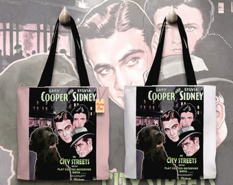 Flat Coated Retriever Art Tote Bag   City Streets Movie Poster    by Nobility Dogs