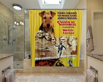 Welsh Terrier Art Shower Curtain, Dog Shower Curtains, Bathroom Decor - NORTH BY NORTHWEST Movie Poster by Nobility Dogs