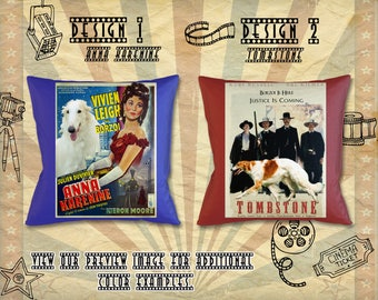 Borzoi Pillow/Russian Wolfhound/Borzoi Portrait/Borzoi Art/Personalized Dog Pillow/Custom Dog Portrait/Movie Poster/Anna Karenine/Tombstone