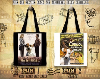 Parson Russell Terrier Tote Bag Movie Poster Curucu When Harry Met Sally by Nobility Dogs