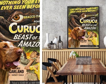Bracco Italiano Dog Art Curucu Vintage Movie Poster Giclee Print or Gallery wrapped Canvas ready to hang on the wall