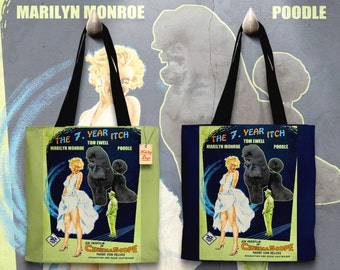 Poodle Art Tote Bag -  The Seven Year Itch Movie Poster   Perfect DOG LOVER Gift for Her Gift for Him