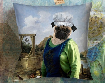 Christmas Gifts Dog Pillow Pug Art by Nobility Dogs