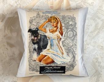 Miniature Schnauzer Art Pillow Une parisienne Movie Poster   by Nobility Dogs
