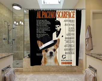 Chihuahua Art Shower Curtain, Dog Shower Curtains, Bathroom Decor - Scarface Movie Poster  Perfect CHRISTMAS Gift SALE 25 off Free Shipping