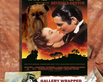 Brussels Griffon Vintage Movie Style Poster Canvas Print