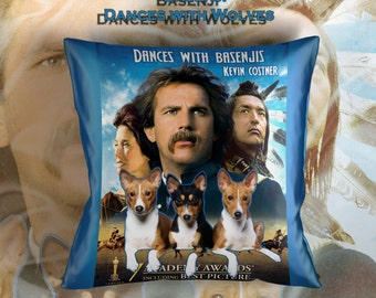 Basenji Art Pillow    Dances with Wolves Movie Poster   by Nobility Dogs
