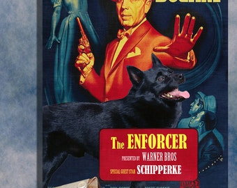 Schipperke Dog Art The Enforcer Movie Poster Canvas Print Dog Lover Christmas Gift by Nobility Dogs