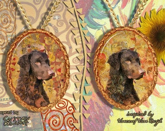 Curly Coated Retriever Jewelry Pendant - Brooch Handcrafted Porcelain by Nobility Dogs - Gustav Klimt and Van Gogh Style