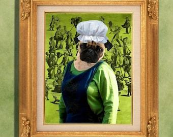 Pug Art Print 11 x 14 inch original illustration artwork giclee archival premium poster print By Nobility Dogs