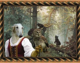 Borzoi Art Borzoi Dog Print Russian Wolfhound Gift Canvas Painting Custom Dog Portrait  Art by Nobility Dogs FREE SHIPPING WORLDWIDE