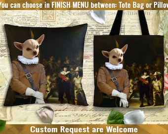 Chihuahua Pillow or Tote Bag/Chihuahua Art/Chihuahua Portrait/Dog Tote Bag/Dog Pillow/Dog Art/Custom Dog Portrait/Chihuahua