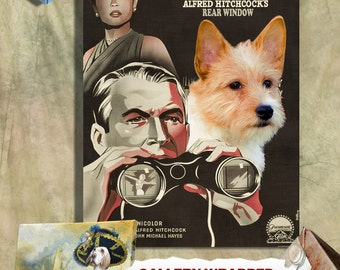 Portuguese Podengo Print Vintage Canvas Print - Rear Window Movie Poster Perfect DOG LOVER GIFT Gift for Her Gift for Him Home Decor