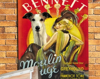 Greyhound Dog Art Moulin Rouge Vintage Movie Poster