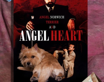 Norwich Terrier Art Vintage Movie Style Poster Canvas Print  - Angel Heart  Perfect DOG LOVER GIFT Gift for Her Gift for Him Home Decor