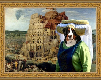 Bernese Mountain Art CANVAS Print Fine Artwork  Dog Portrait Dog Painting Dog Art Dog Print  Perfect Dog Lover Gift for Her Gift for Him