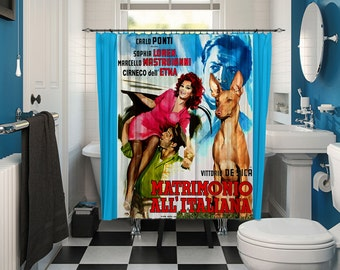 Cirneco dell Etna Art Shower Curtain, Dog Shower Curtains, Bathroom Decor -Marriage Italian Style Movie Poster