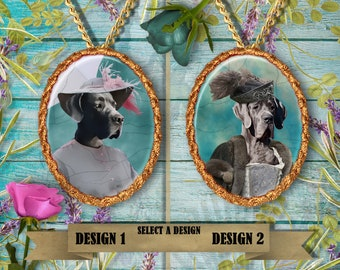Great Dane Jewelry Pendant - Brooch Handcrafted Ceramic by Nobility Dogs